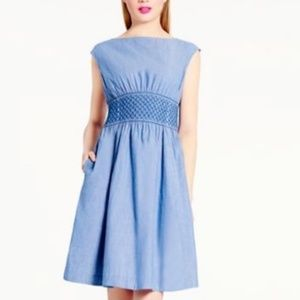 Kate Spade Blaire Chambray Smocked Dress | S 6
